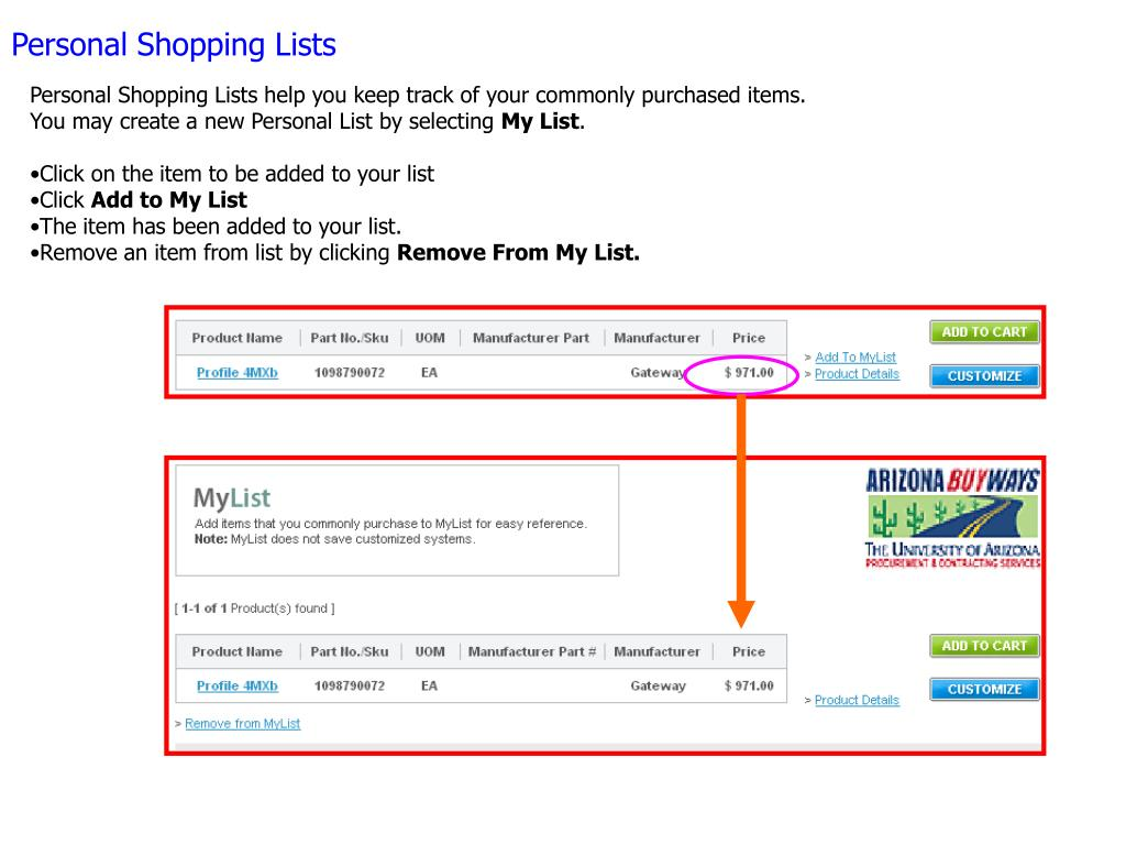 Personal Shopping Lists help you keep track of your commonly purchased items. You may create a new Personal List by selecting