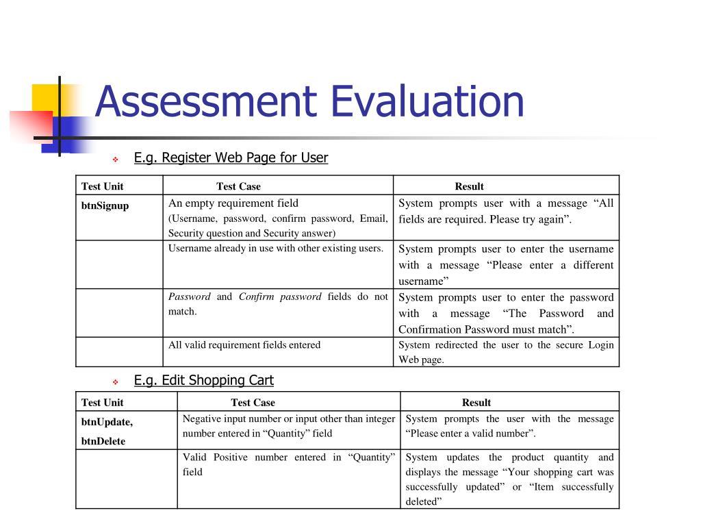 Assessment Evaluation