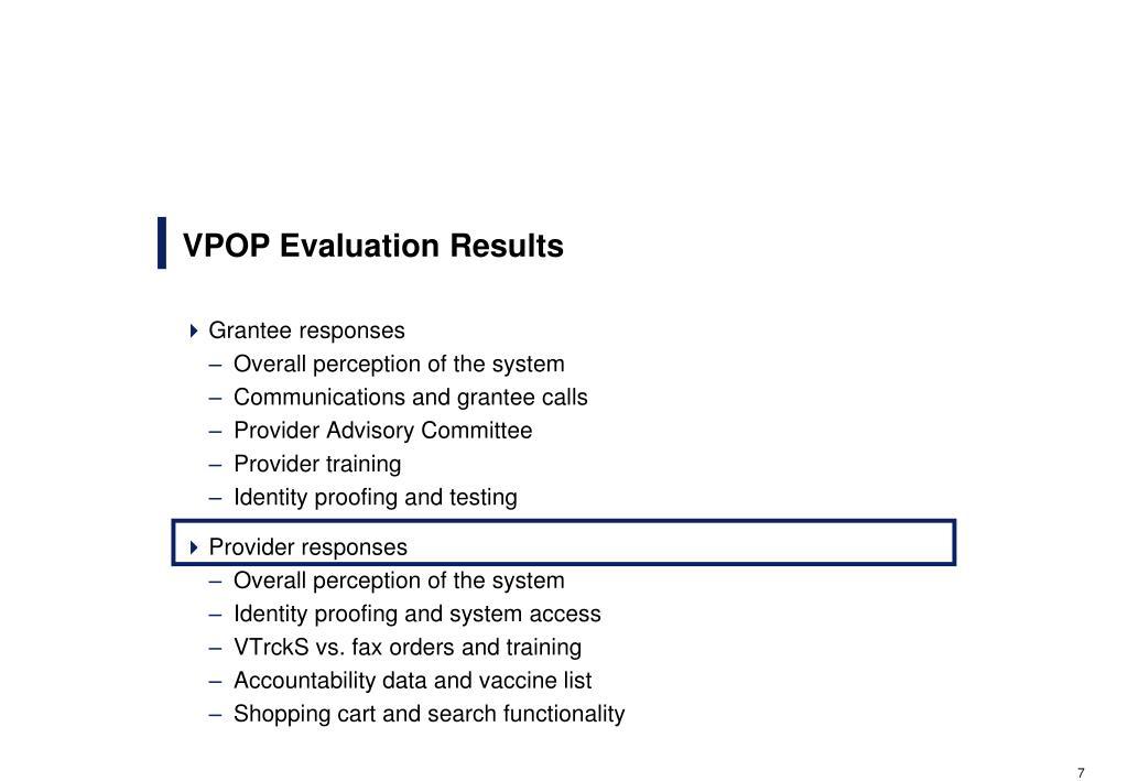 VPOP Evaluation Results