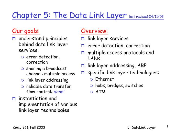 chapter 5 the data link layer last revised 24 11 03 n.