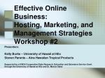 effective online business hosting marketing and management strategies workshop 2