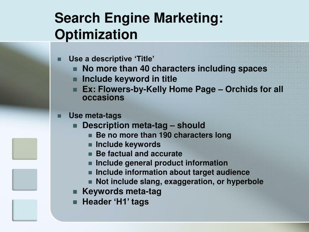 Search Engine Marketing: Optimization