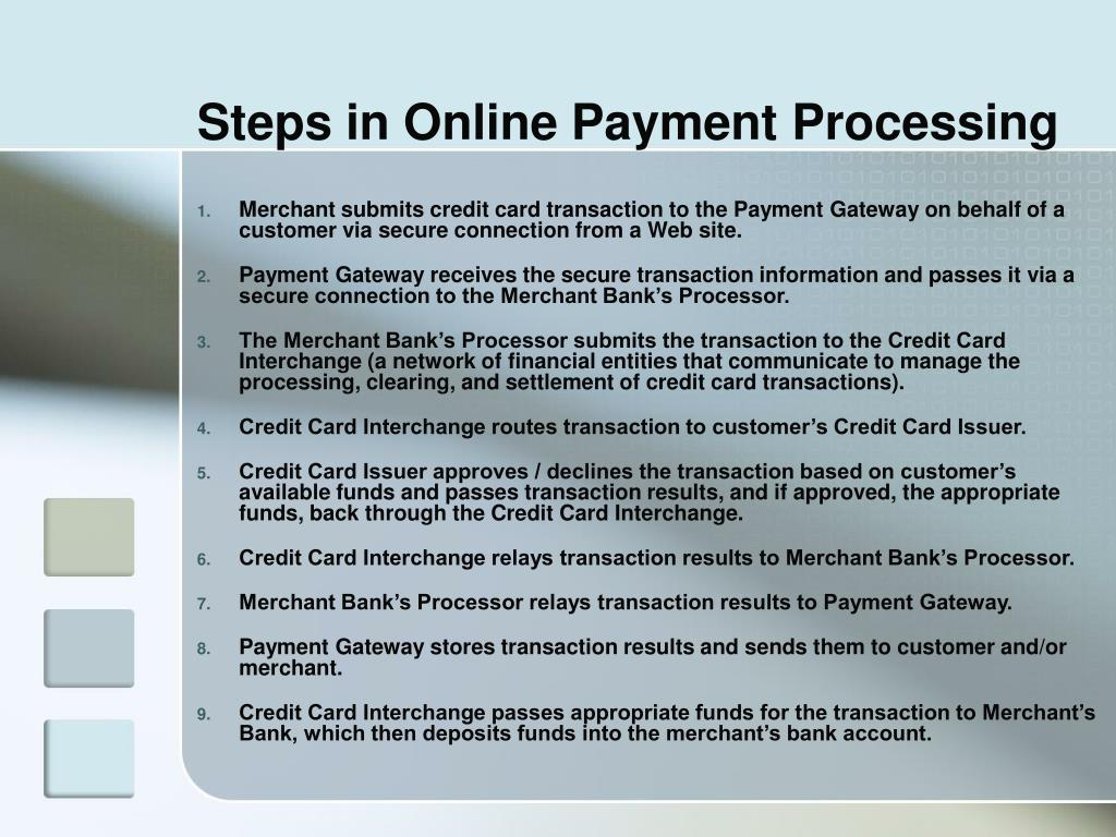 Steps in Online Payment Processing
