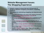 website management issues the shopping experience