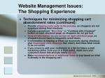website management issues the shopping experience30