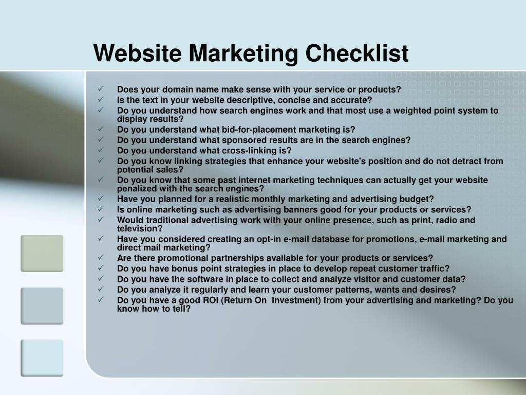 Website Marketing Checklist