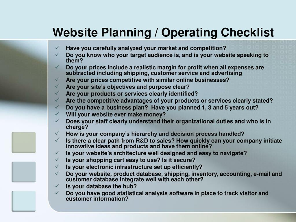 Website Planning / Operating Checklist
