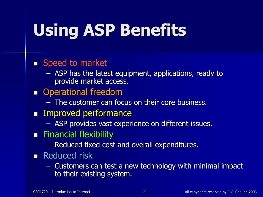 Using ASP Benefits