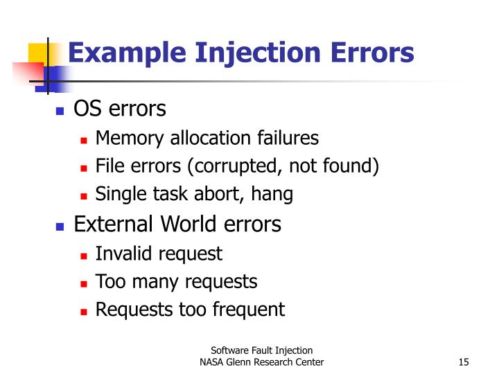 Example Injection Errors