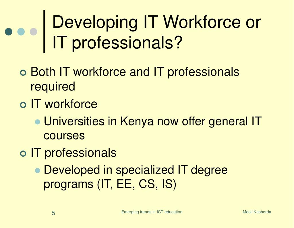 Developing IT Workforce or IT professionals?
