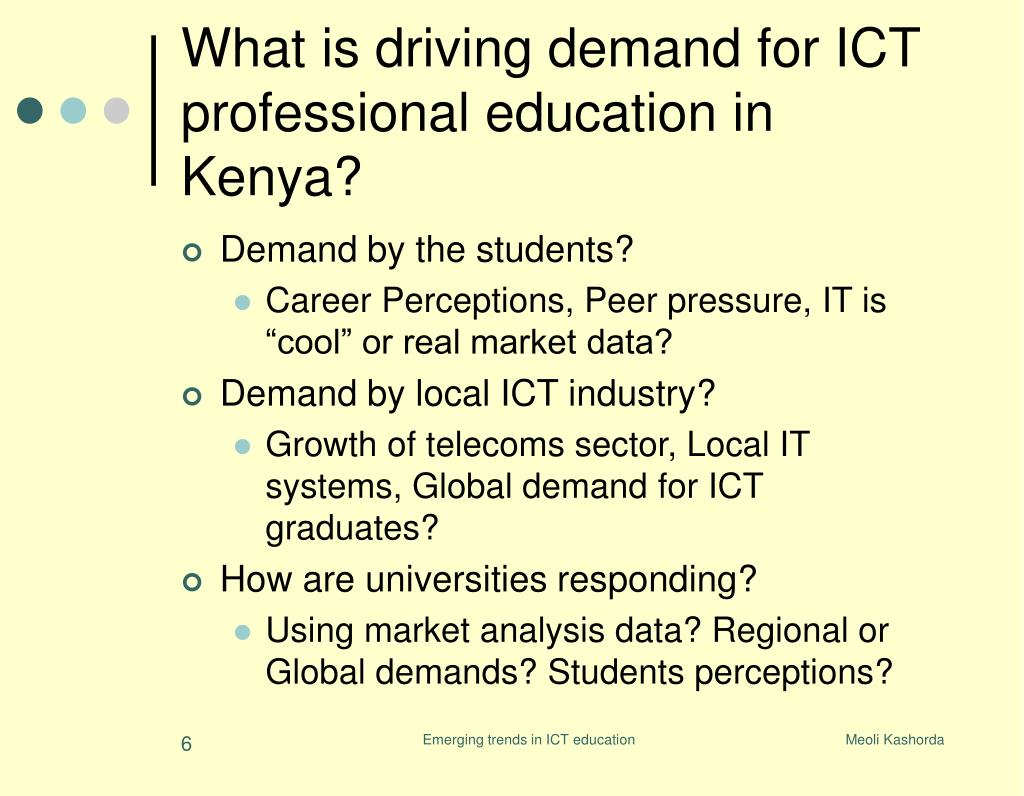 What is driving demand for ICT professional education in Kenya?