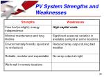 pv system strengths and weaknesses