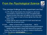 from the psychological science