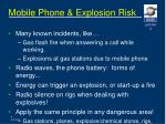 mobile phone explosion risk