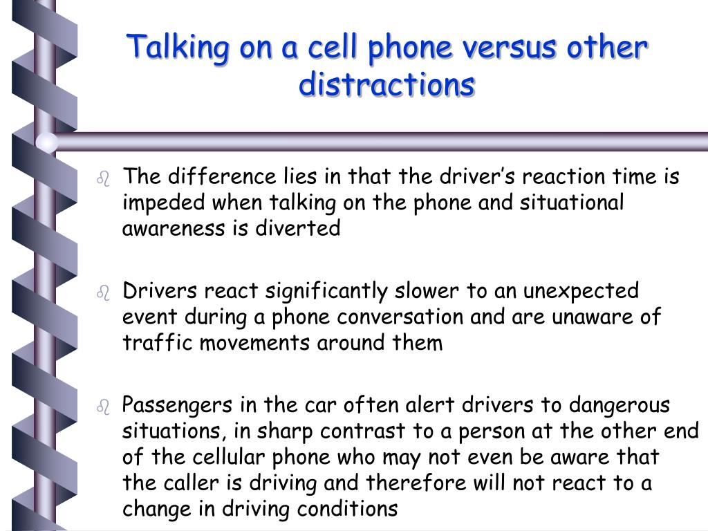 Talking on a cell phone versus other distractions