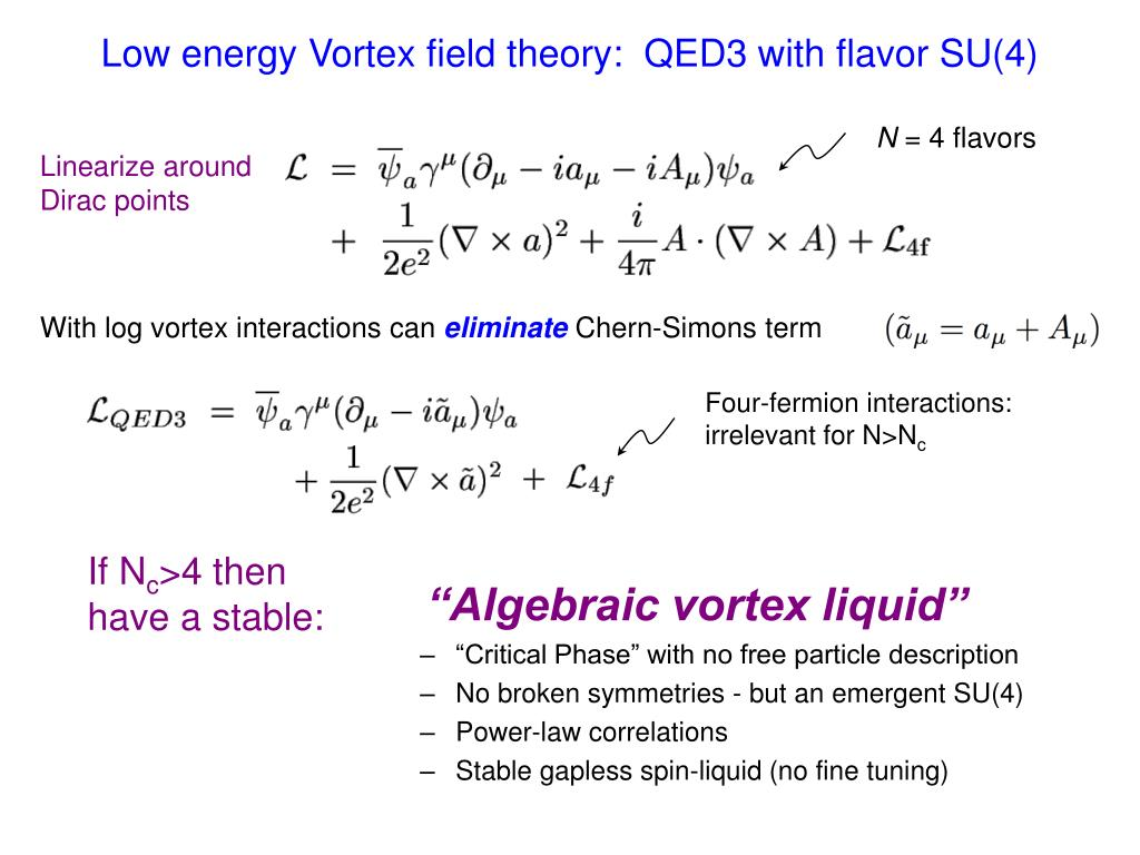 Low energy Vortex field theory:  QED3 with flavor SU(4)