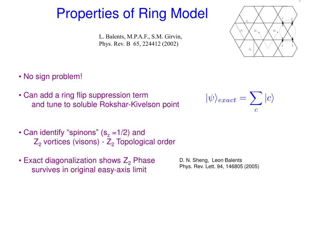 Properties of Ring Model