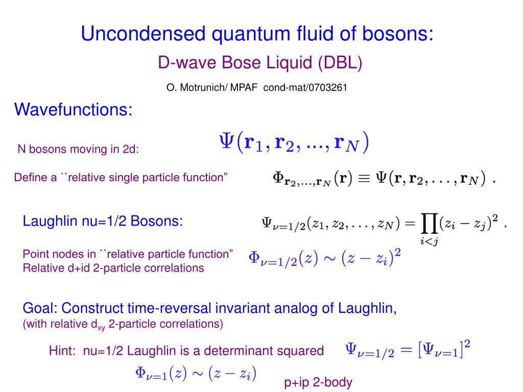 Uncondensed quantum fluid of bosons: