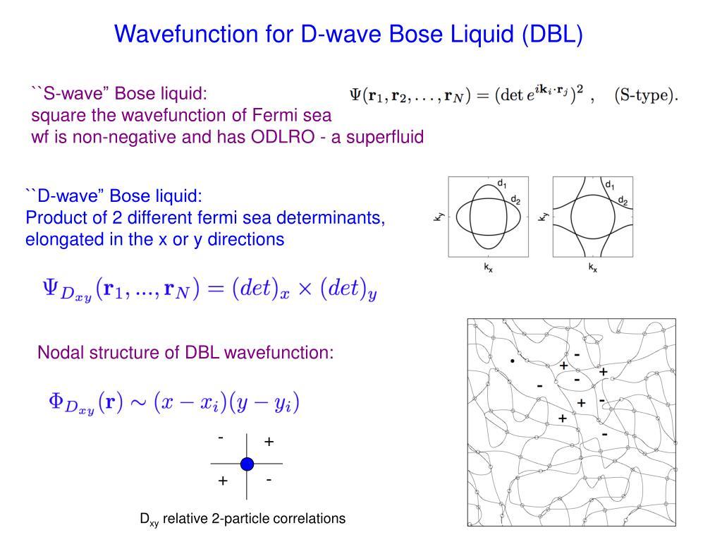 Wavefunction for D-wave Bose Liquid (DBL)