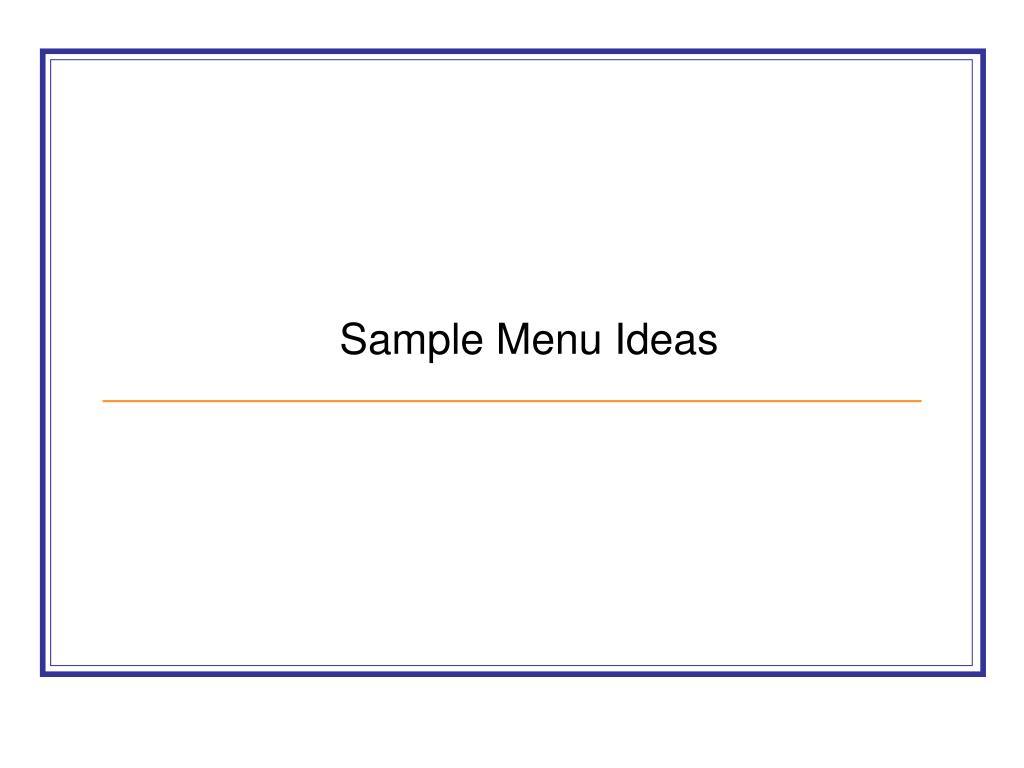 sample menu ideas l.