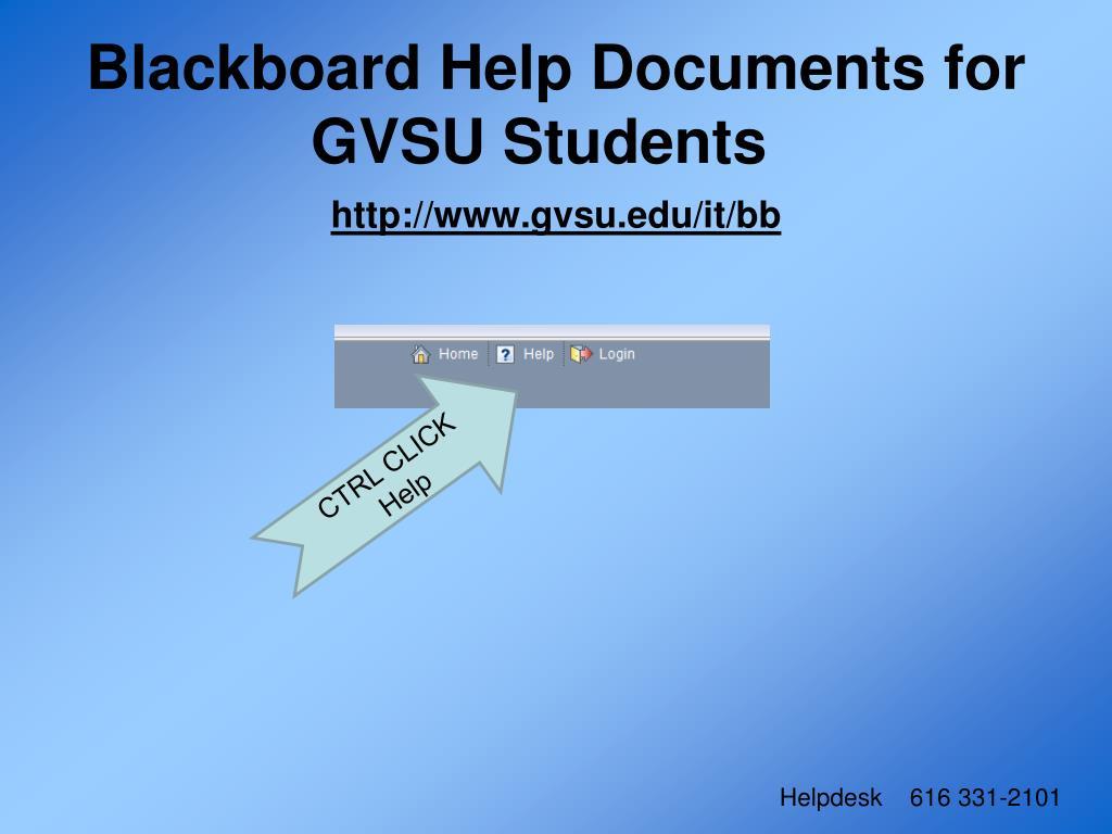 Blackboard Help Documents for GVSU Students