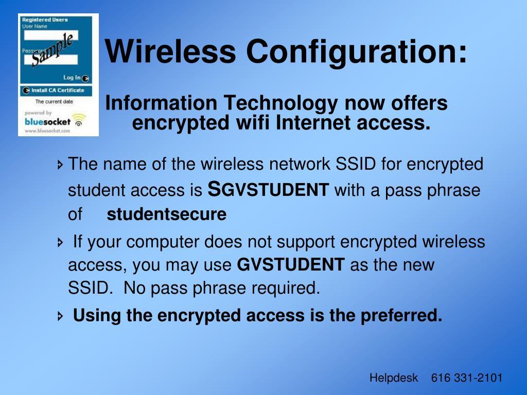 Wireless Configuration:
