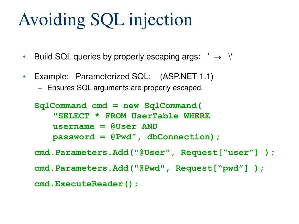Avoiding SQL injection