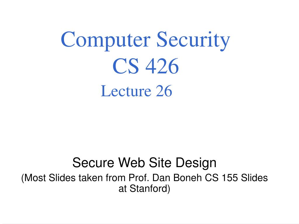 computer security cs 426 lecture 26 l.