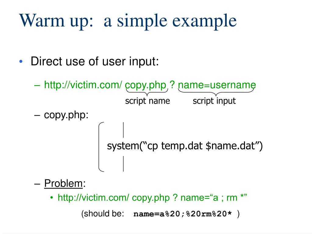 Warm up:  a simple example