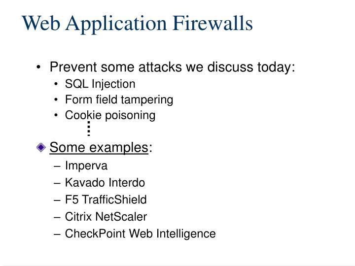Web application firewalls