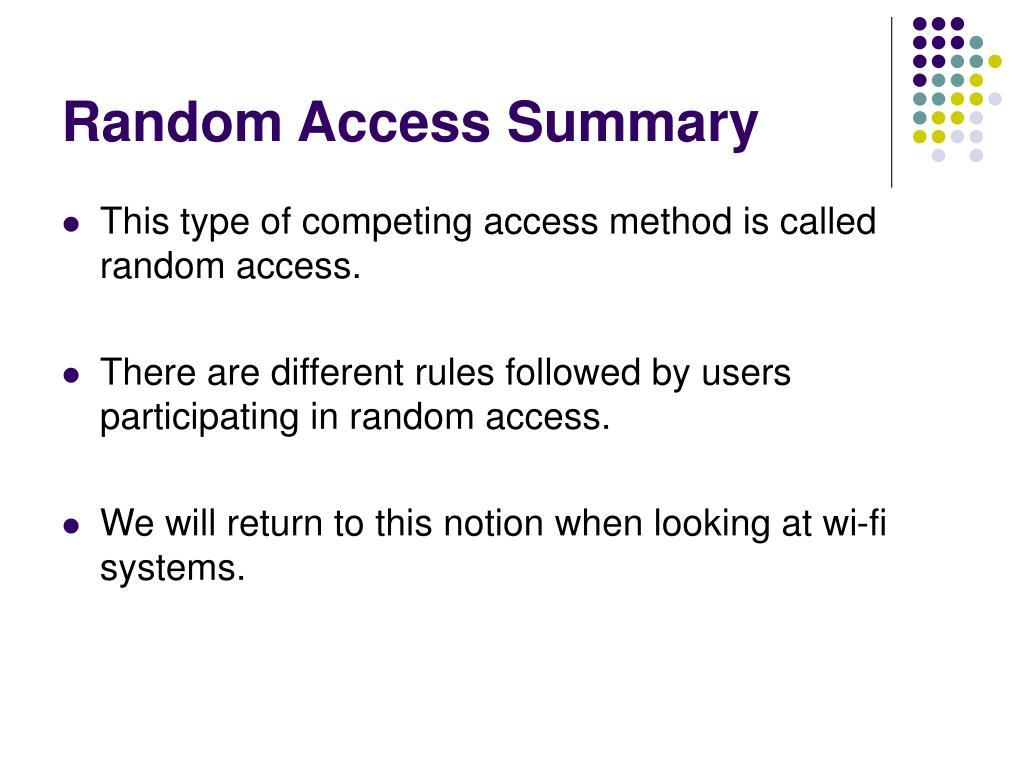 Random Access Summary