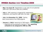 mmsea section 111 timeline 2009