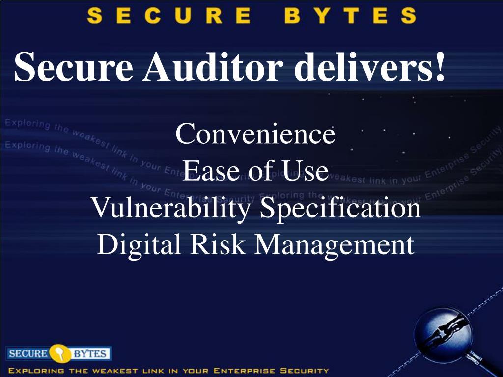 Secure Auditor delivers!