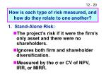 how is each type of risk measured and how do they relate to one another