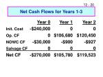 net cash flows for years 1 3