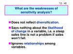 what are the weaknesses of sensitivity analysis