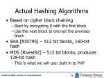 actual hashing algorithms