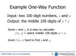 example one way function