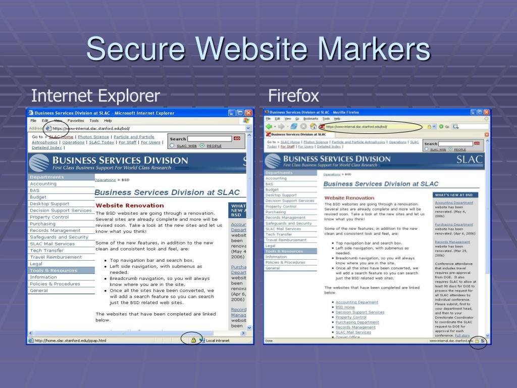 Secure Website Markers
