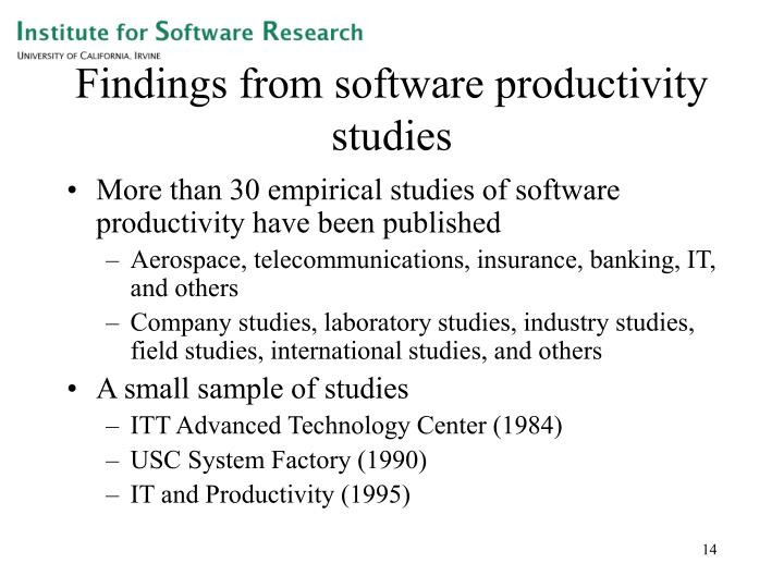 Findings from software productivity studies