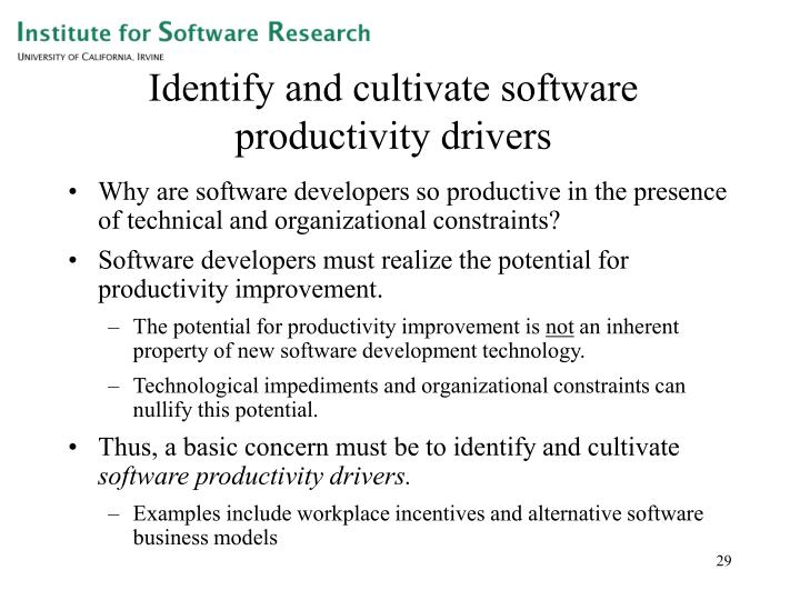 Identify and cultivate software productivity drivers