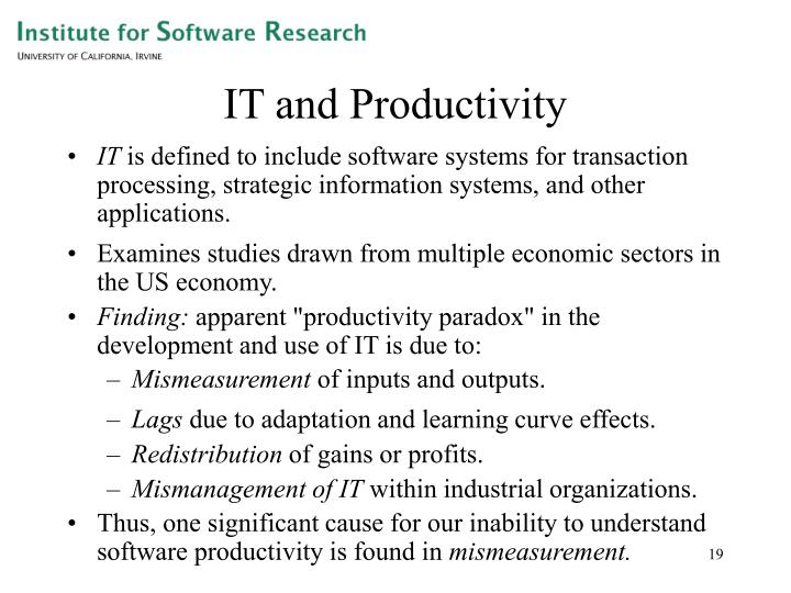 IT and Productivity