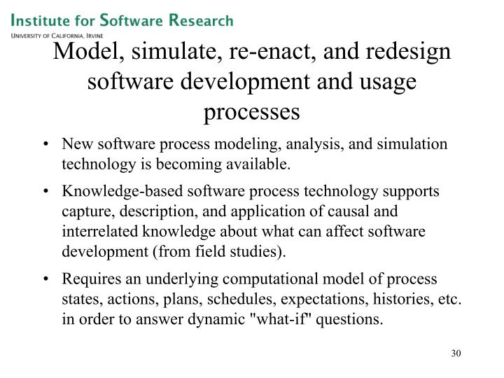 Model, simulate, re-enact, and redesign software development and usage processes