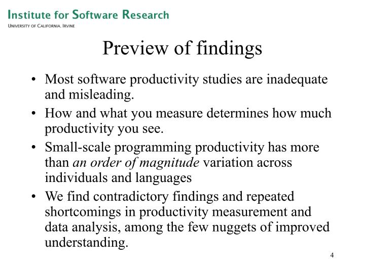 Preview of findings