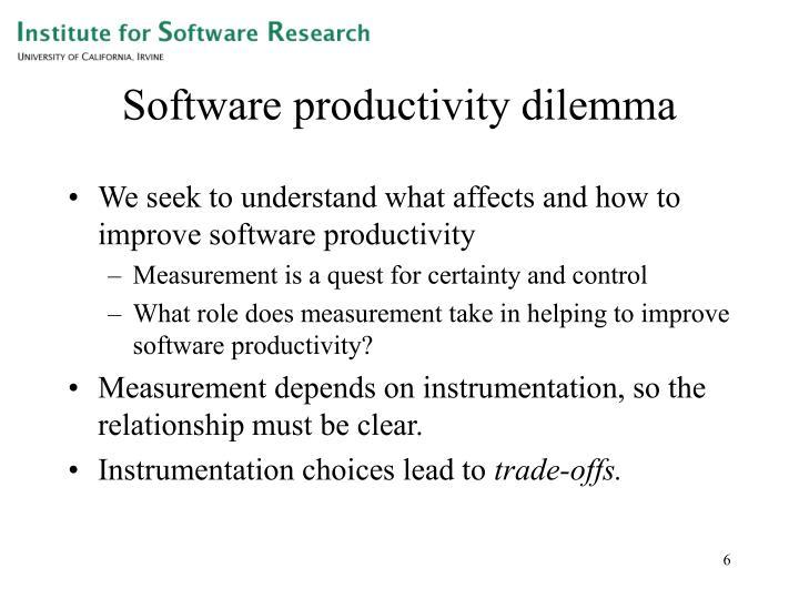 Software productivity dilemma