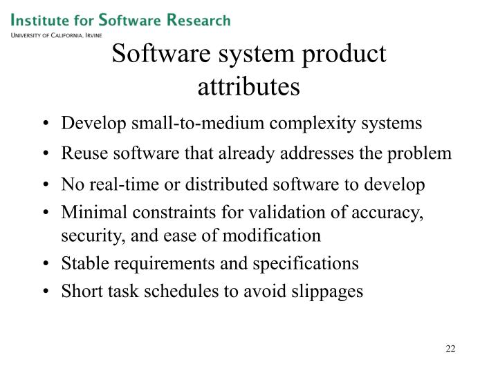 Software system product      attributes