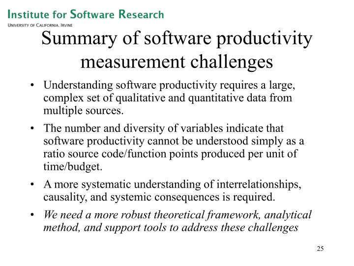 Summary of software productivity measurement challenges