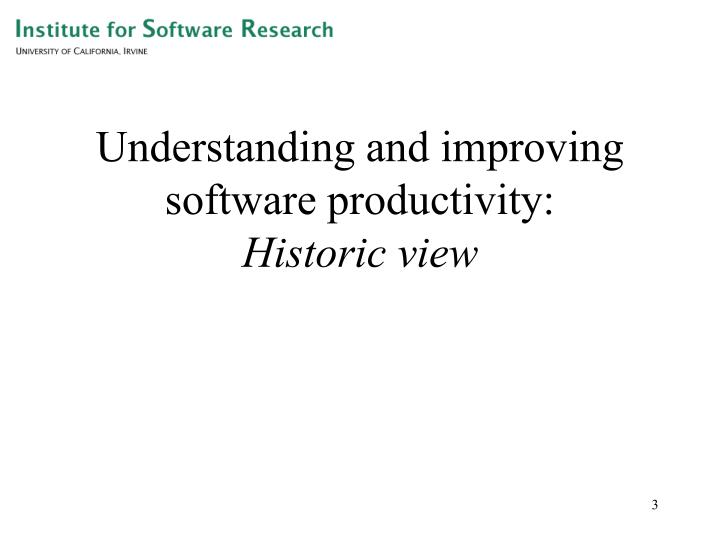 Understanding and improving software productivity historic view