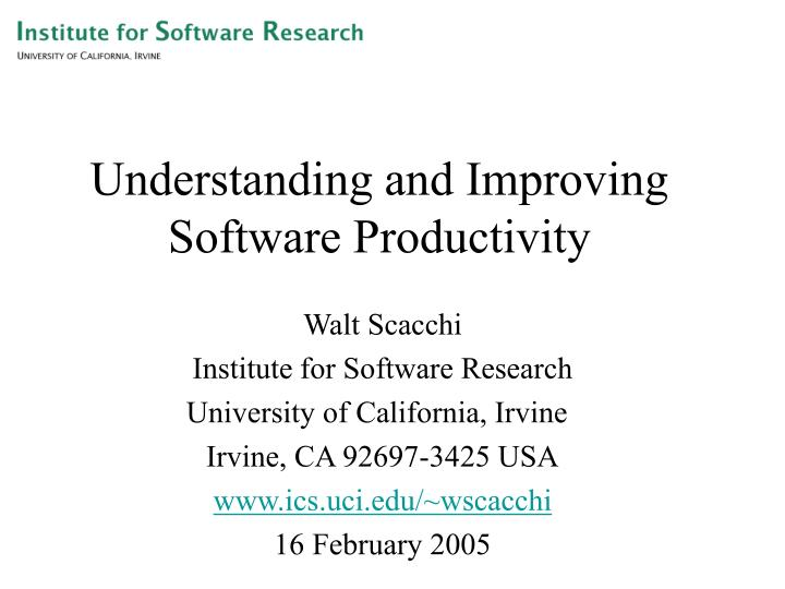 understanding and improving software productivity n.
