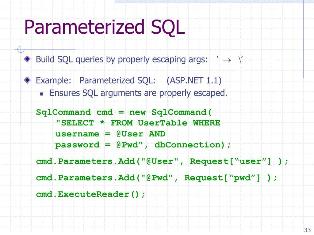 Parameterized SQL
